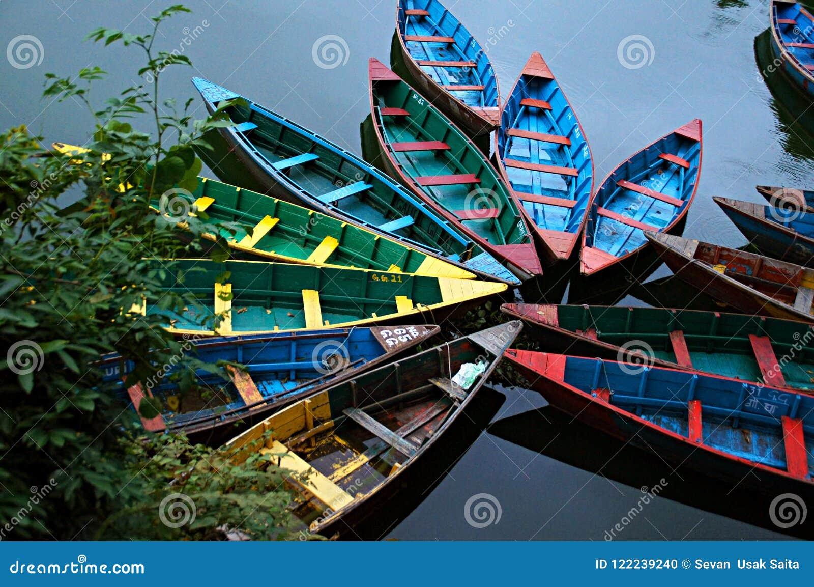 在Fewa湖的五颜六色的木划艇