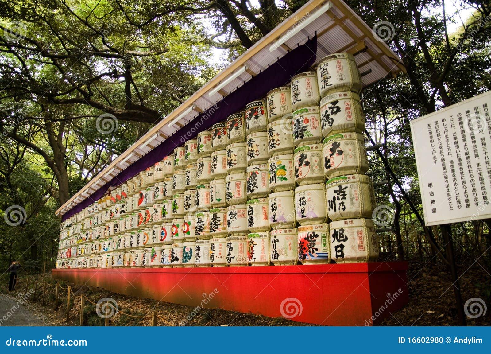 在Meiji Jingu的缘故桶祀奉在Harajuku