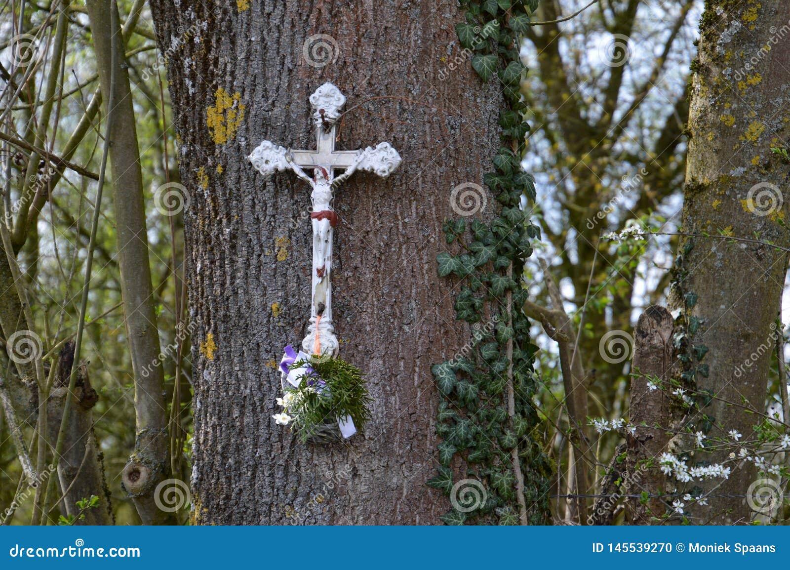 在memoriam,用花装饰的白色十字架垂悬在树