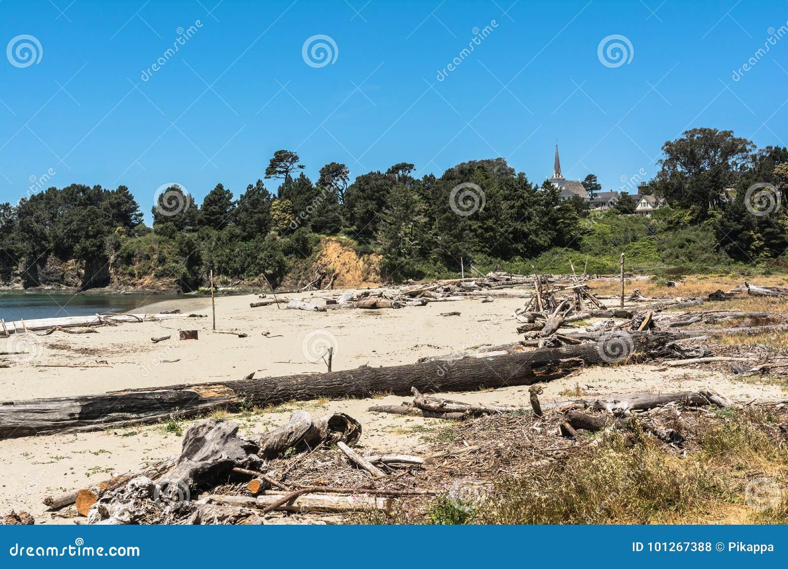 在Mendocino海湾,加利福尼亚的沙子海滩