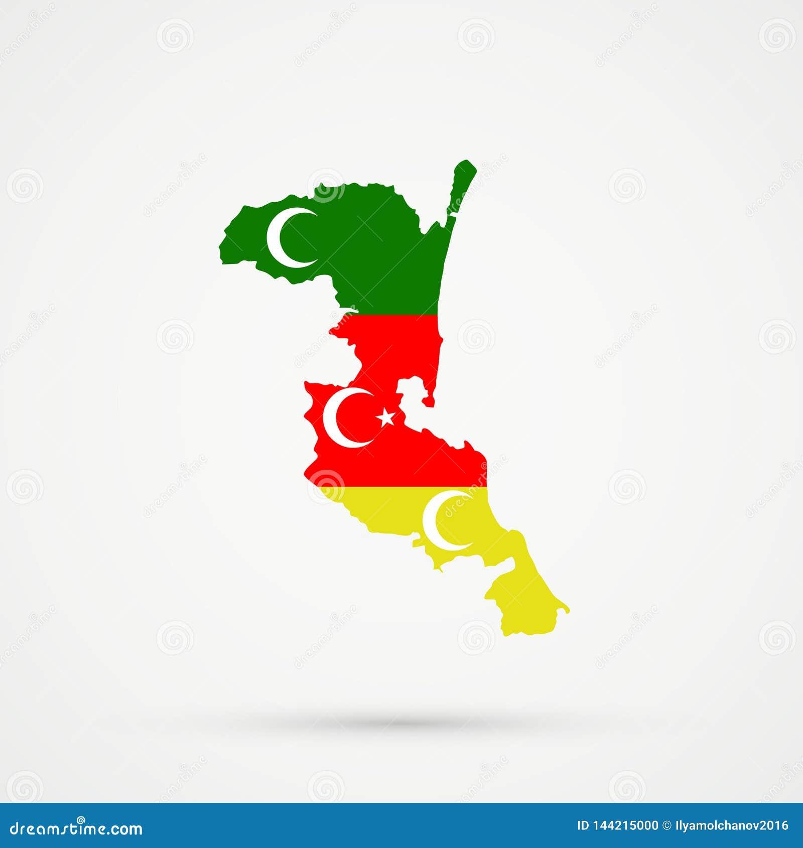在Meskhetian土耳其人Ahiska土耳其人族群旗子颜色的Kumykia达吉斯坦地图,编辑可能的传染媒介