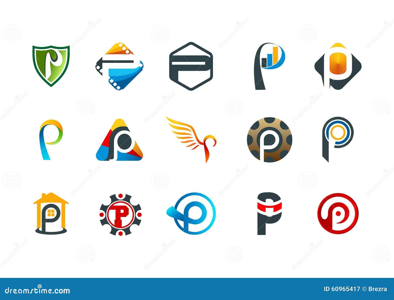 在p商标,现代企业公司标志设计上写字