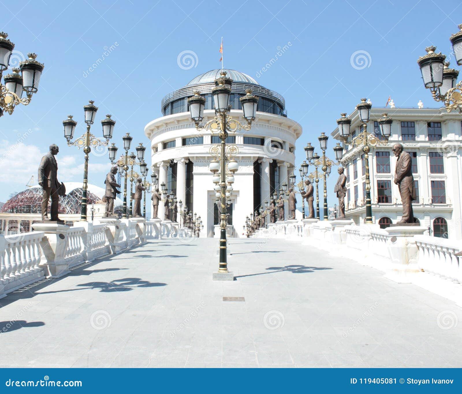 在Scopje,马其顿的新古典主义的建筑学
