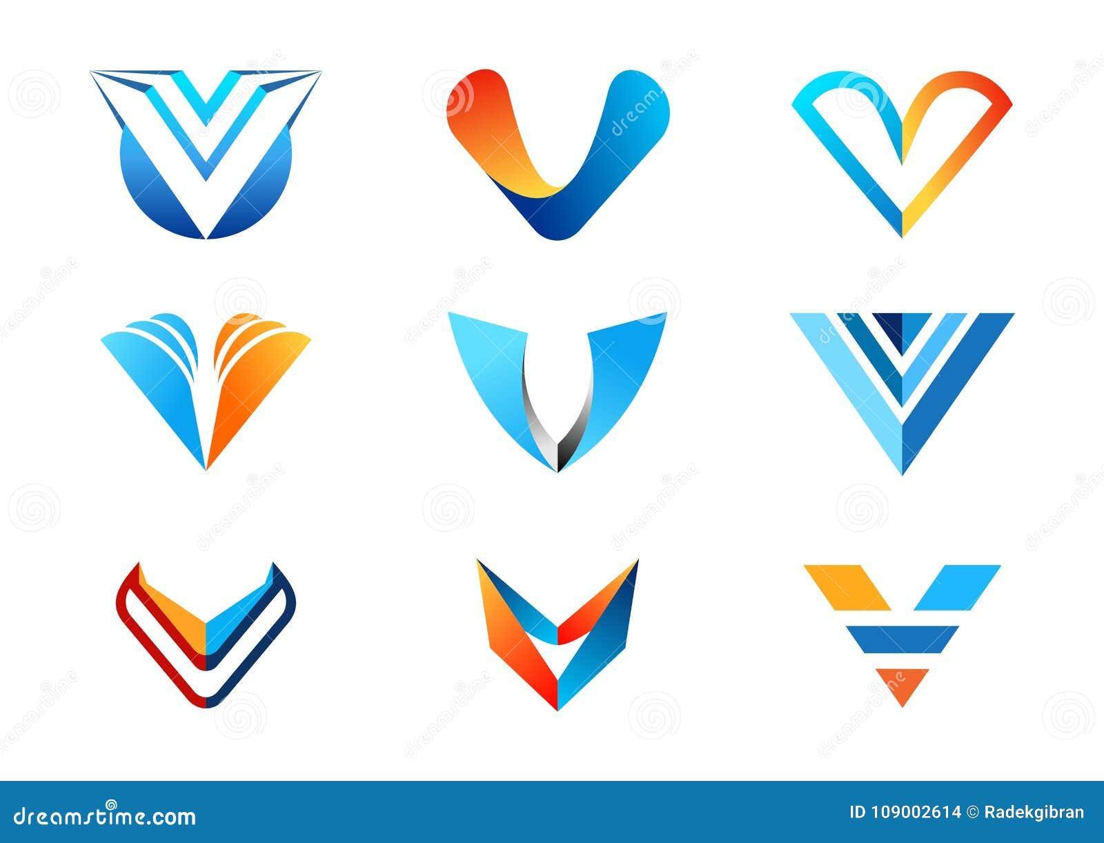 在V商标,抽象元素概念公司商标,信件v蓝色橙色企业商标标志象传染媒介d的汇集套上写字