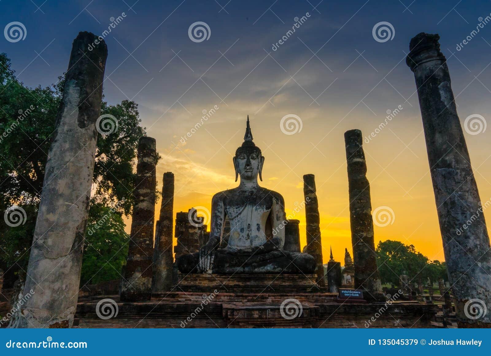 在Wat Mahatat的日落