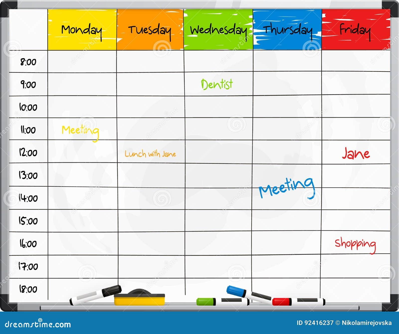 在whiteboard的计划者模板与颜色记号笔 向量