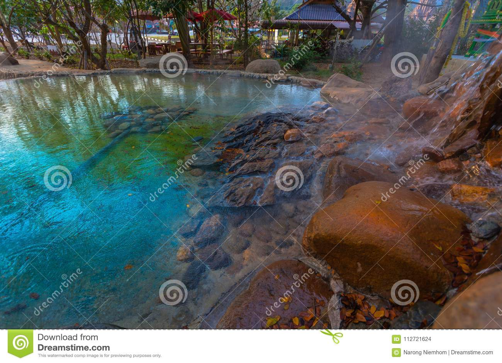 在Wiang Pa Pao清莱泰国的Mae Kajan温泉