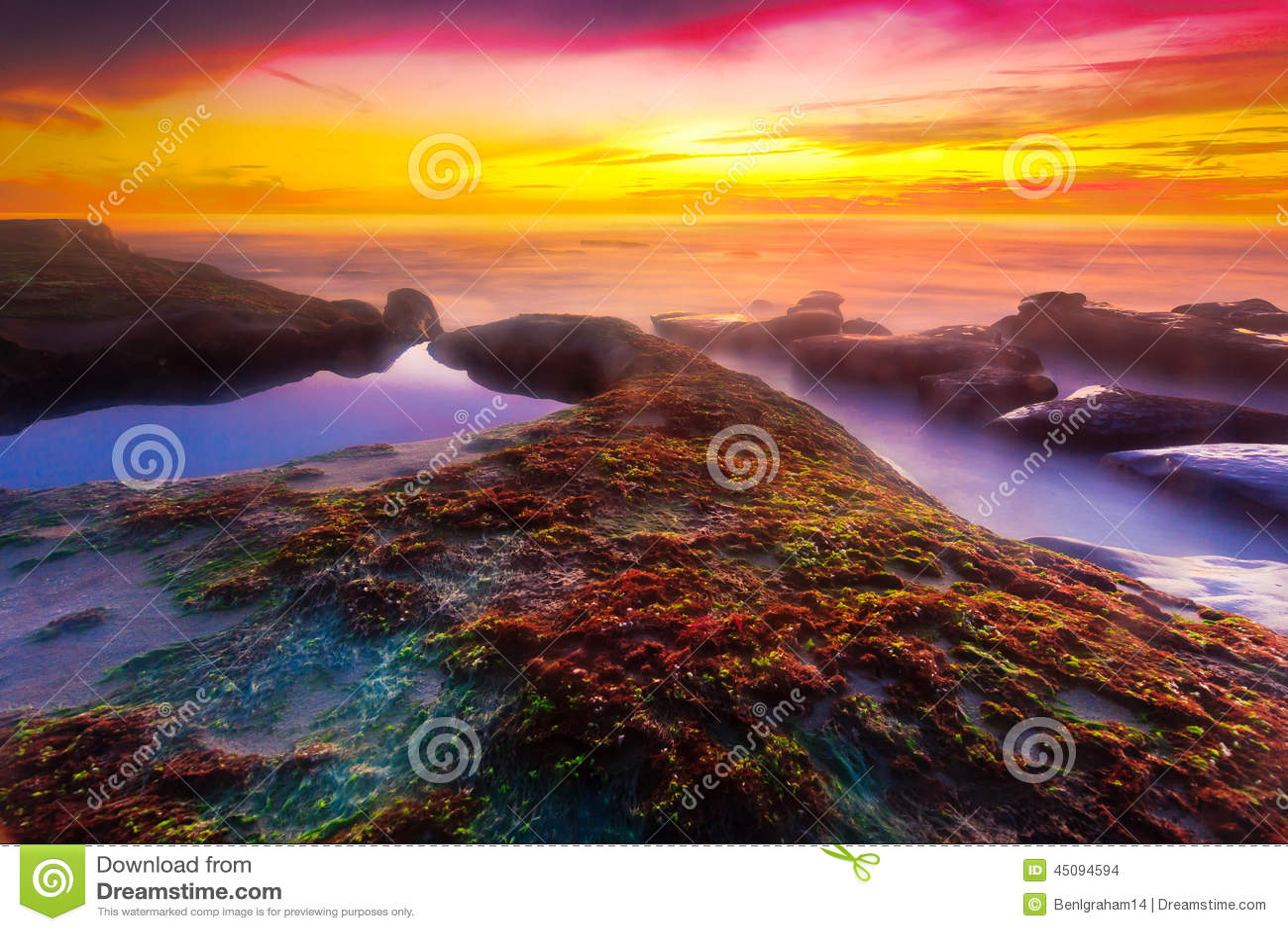 在Windansea海滩的日落