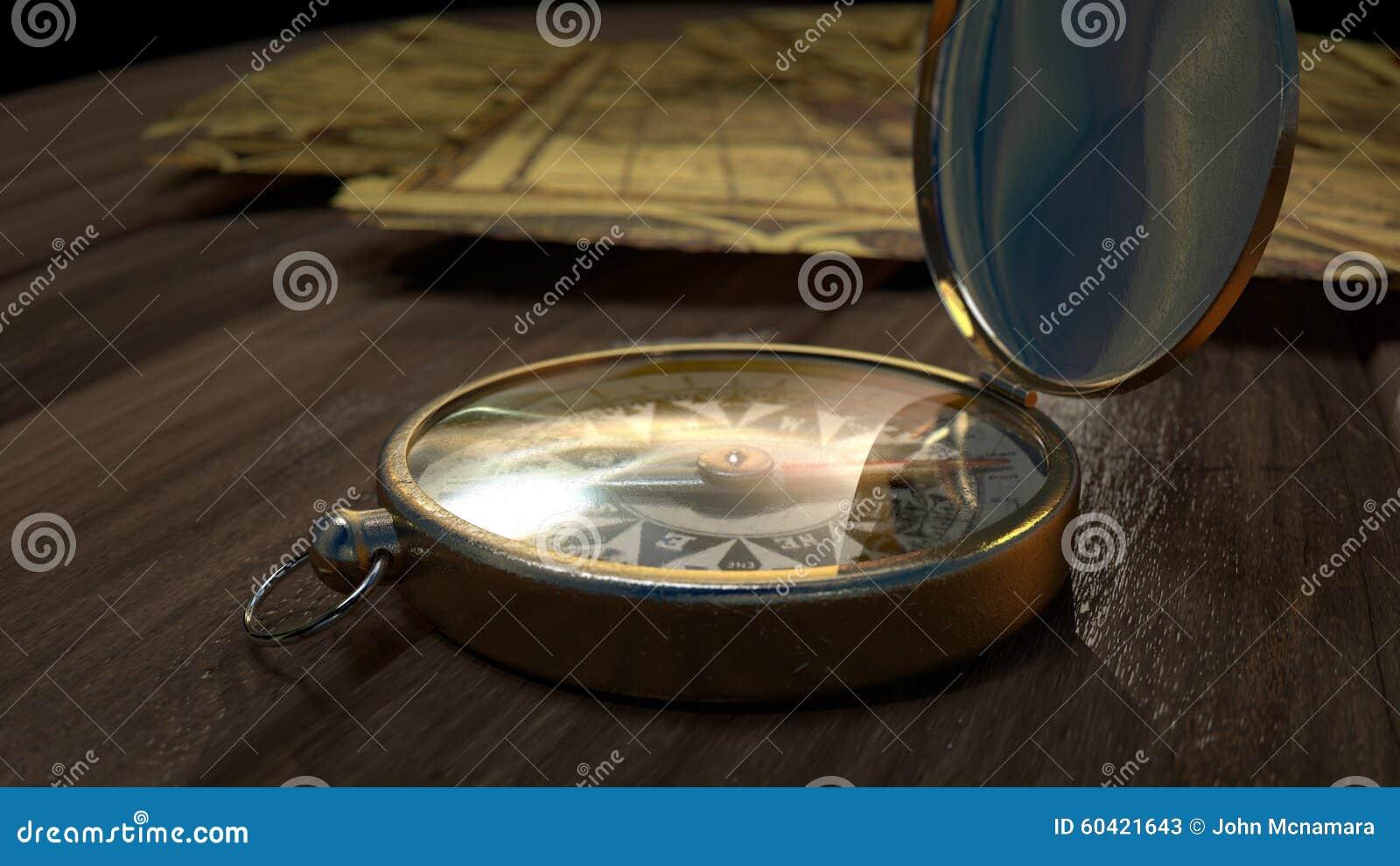 在Wodden地板上的老指南针