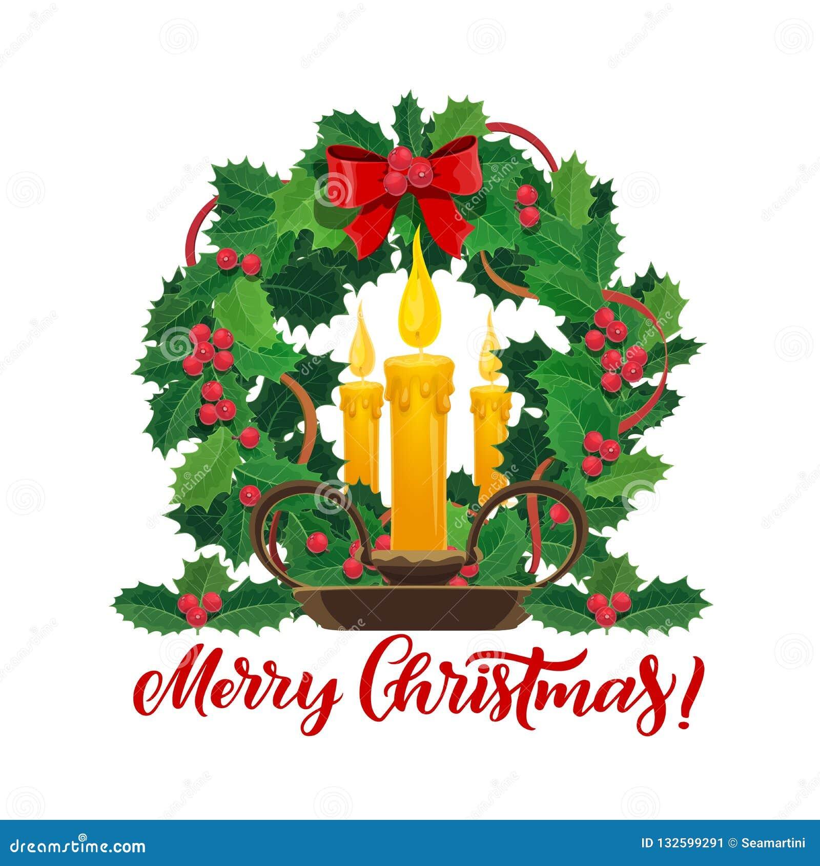 在Xmas松树花圈的圣诞节蜡烛