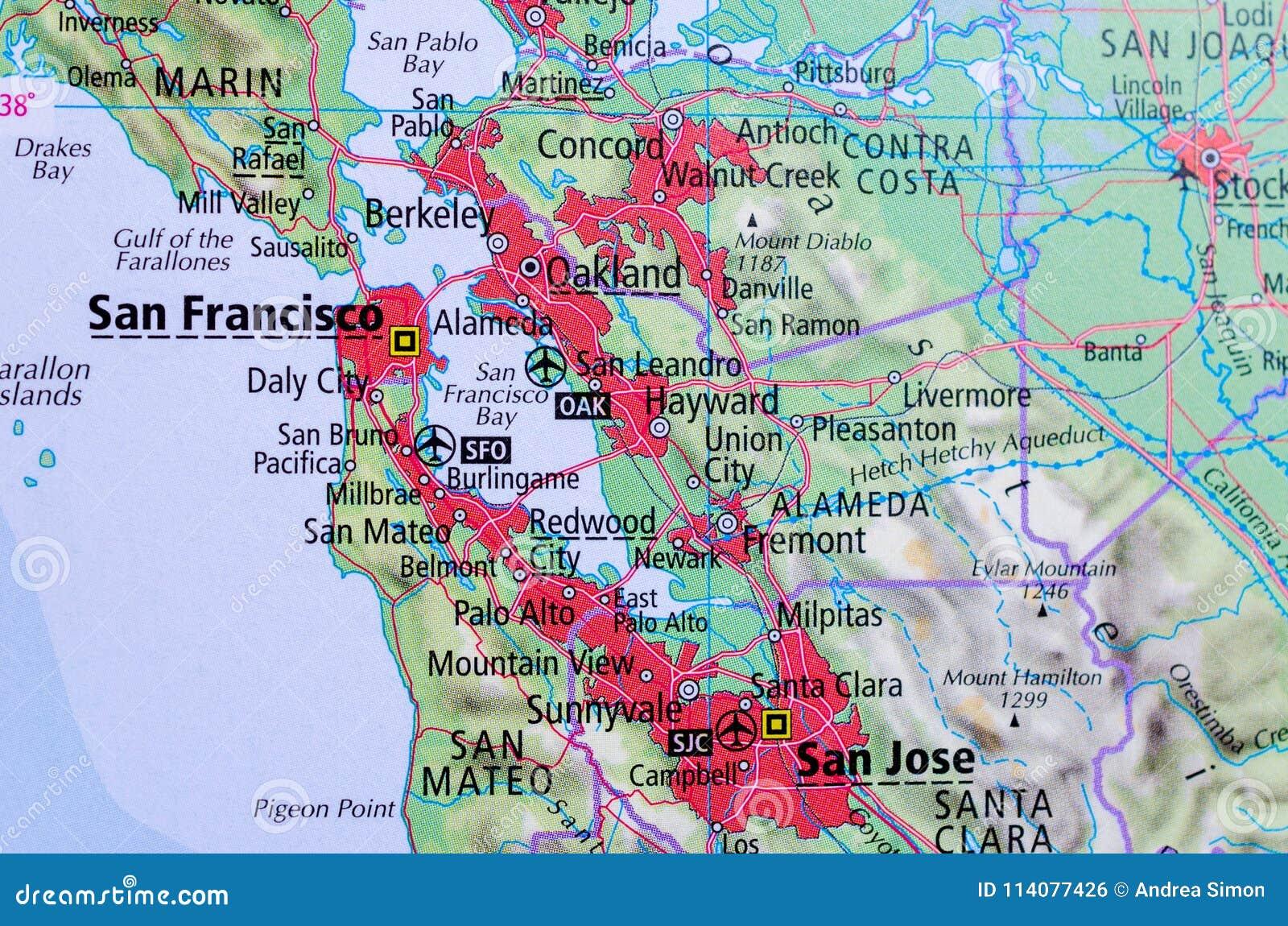 地图的旧金山