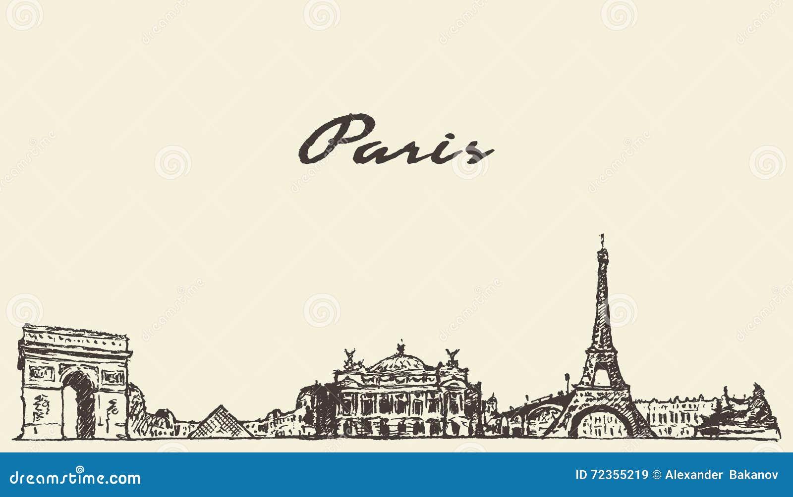 巴黎地平线手拉法国的例证