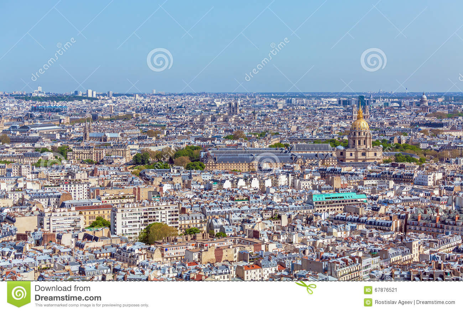 巴黎地平线鸟瞰图从艾菲尔铁塔的