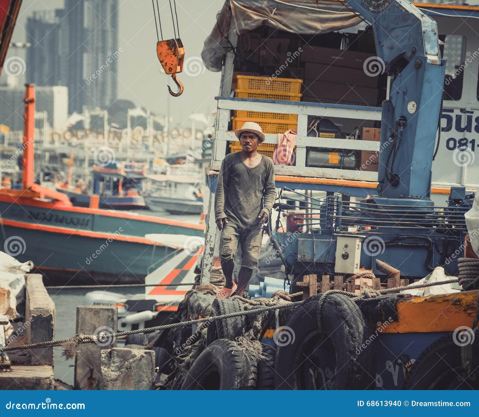 地方渔/小船工作者泰国