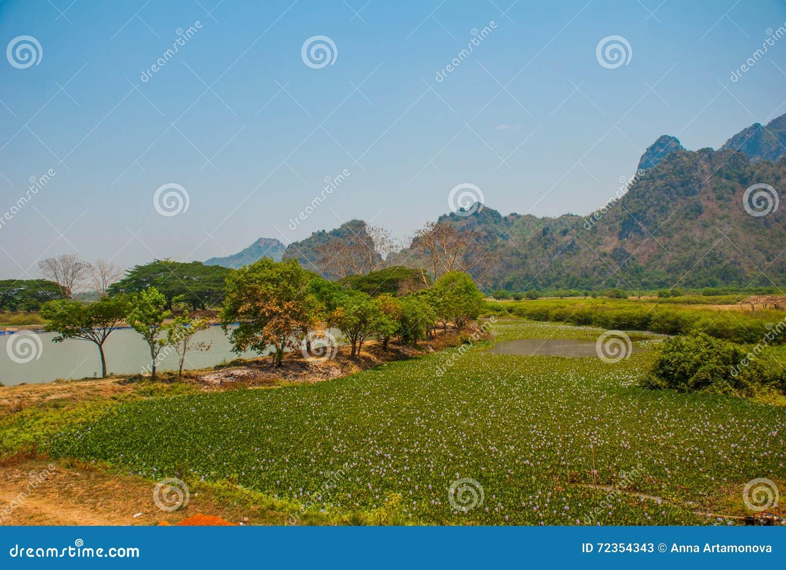 地方的美好的风景顶视图在城市毛淡棉, Hha-an附近的 缅甸 缅甸