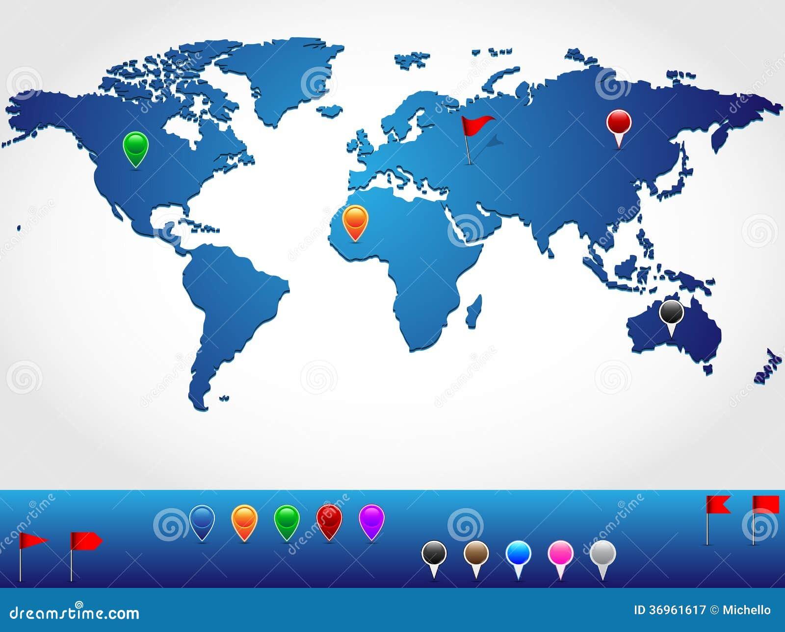 在轻微的3d神色和透视的世界地图,与五颜六色的别针和横幅地点针尖的图片