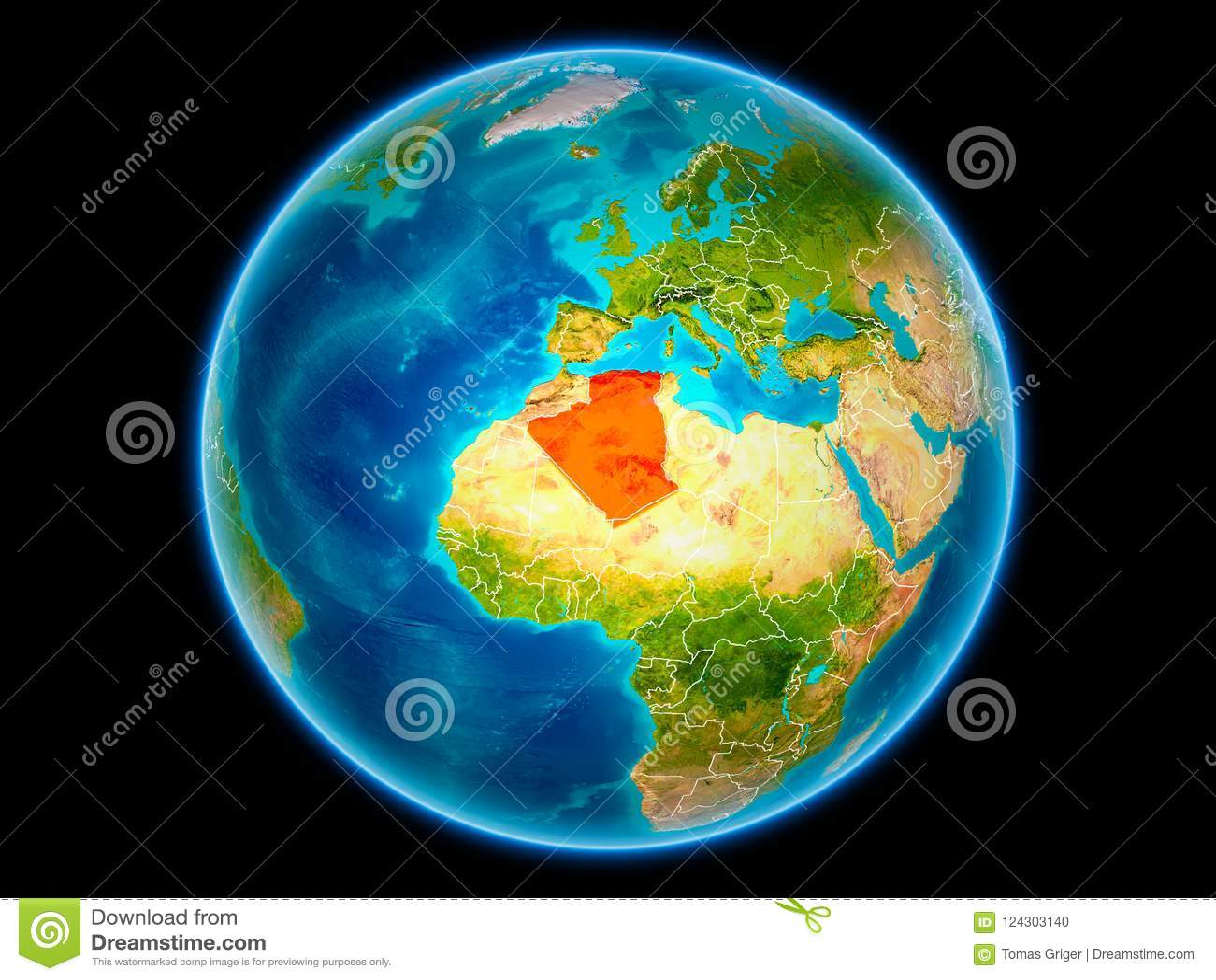 地球上的阿尔及利亚从空间