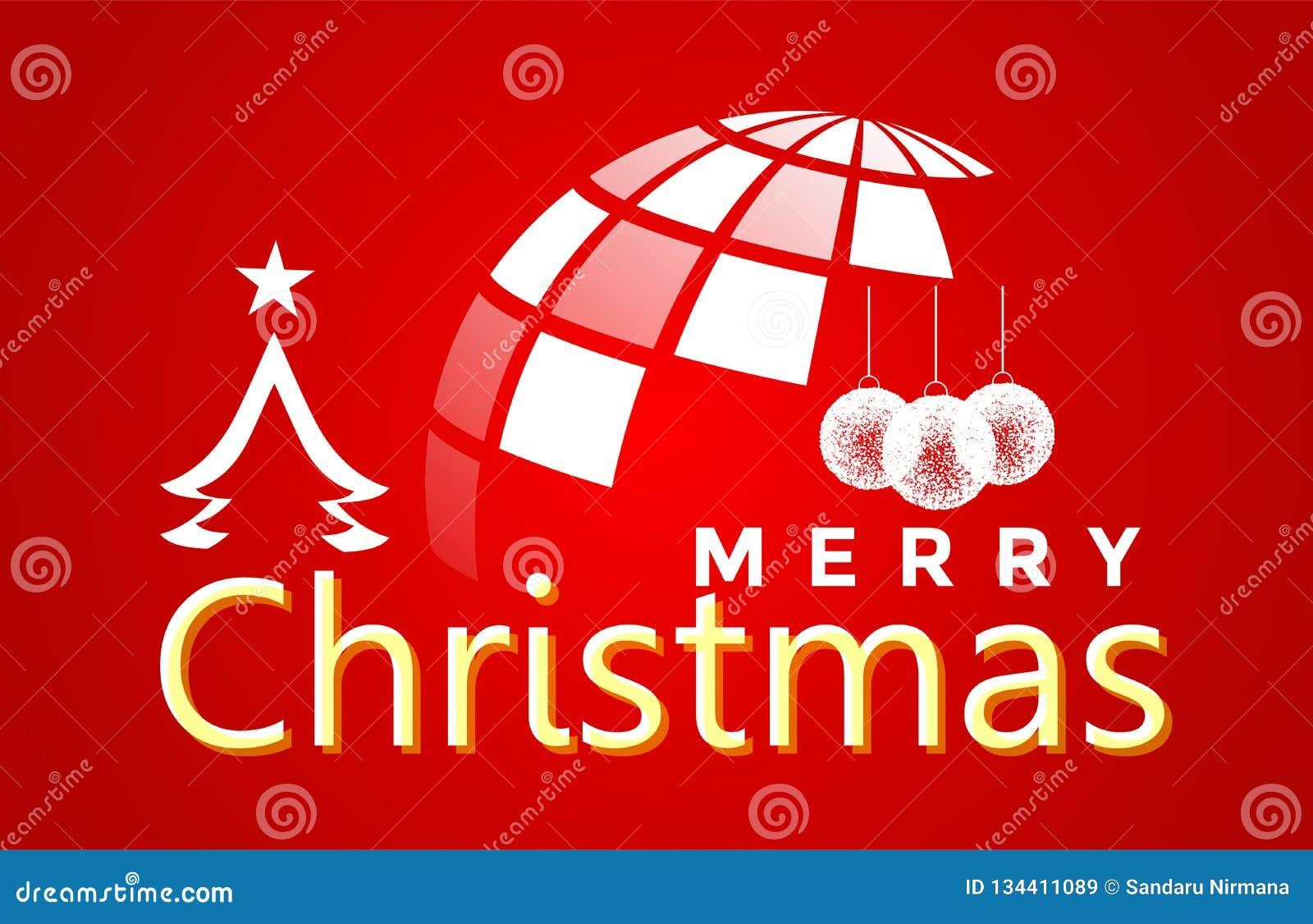 地球和圣诞快乐世界和招呼在白色色的象的文本设计在抽象红色背景