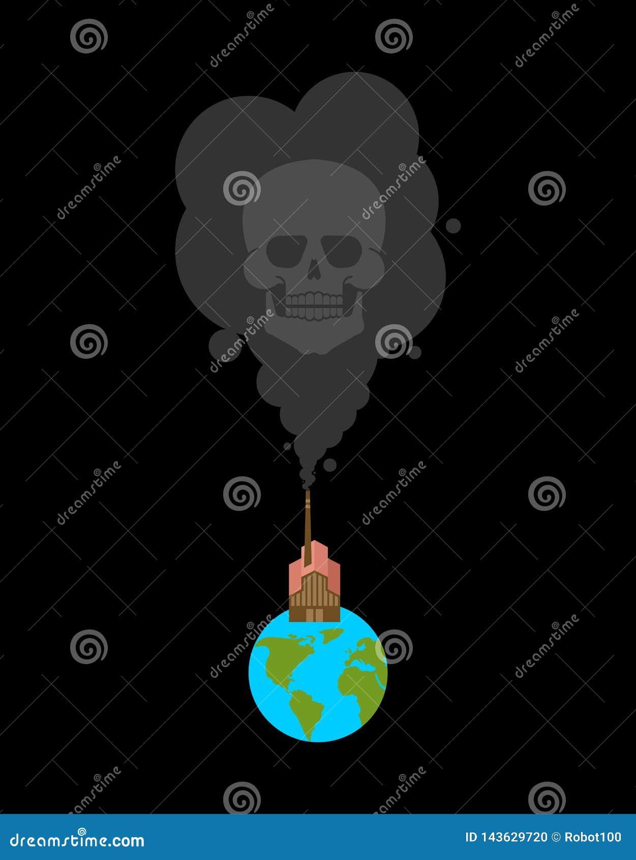 地球和工厂黑色烟和头骨 死亡和污染 有害的化学制品生产 毒物环境