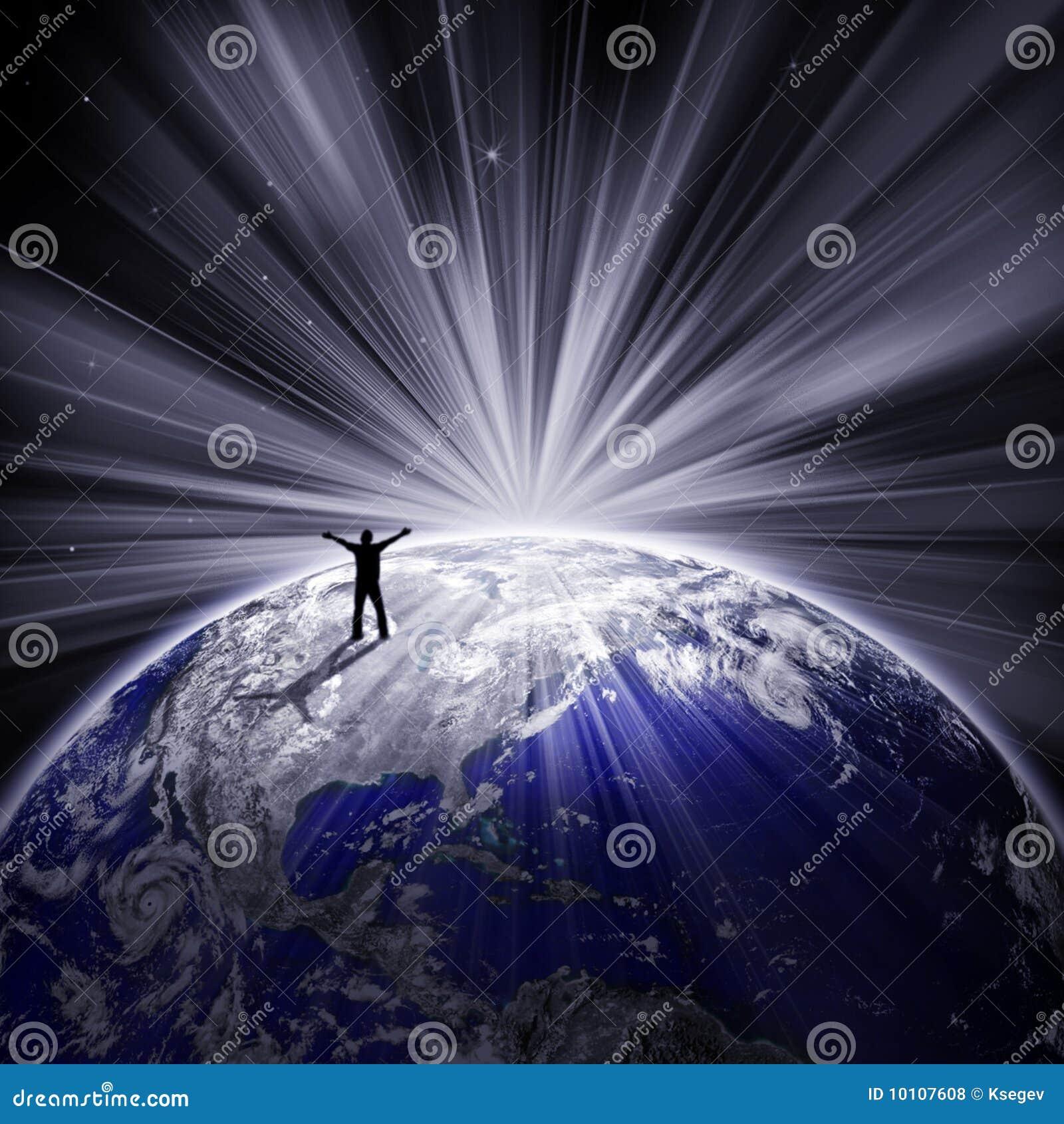 地球愉快的人剪影