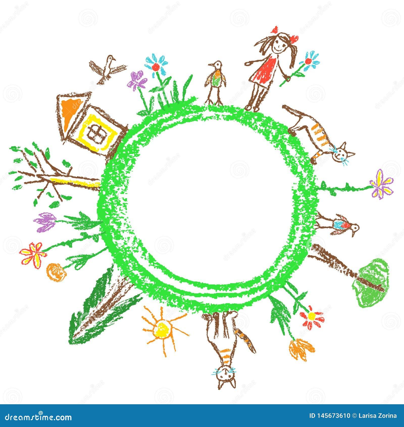 地球日eco友好的概念 象儿童的手拉的乱画五颜六色的传染媒介艺术 世界生态地球行星 r