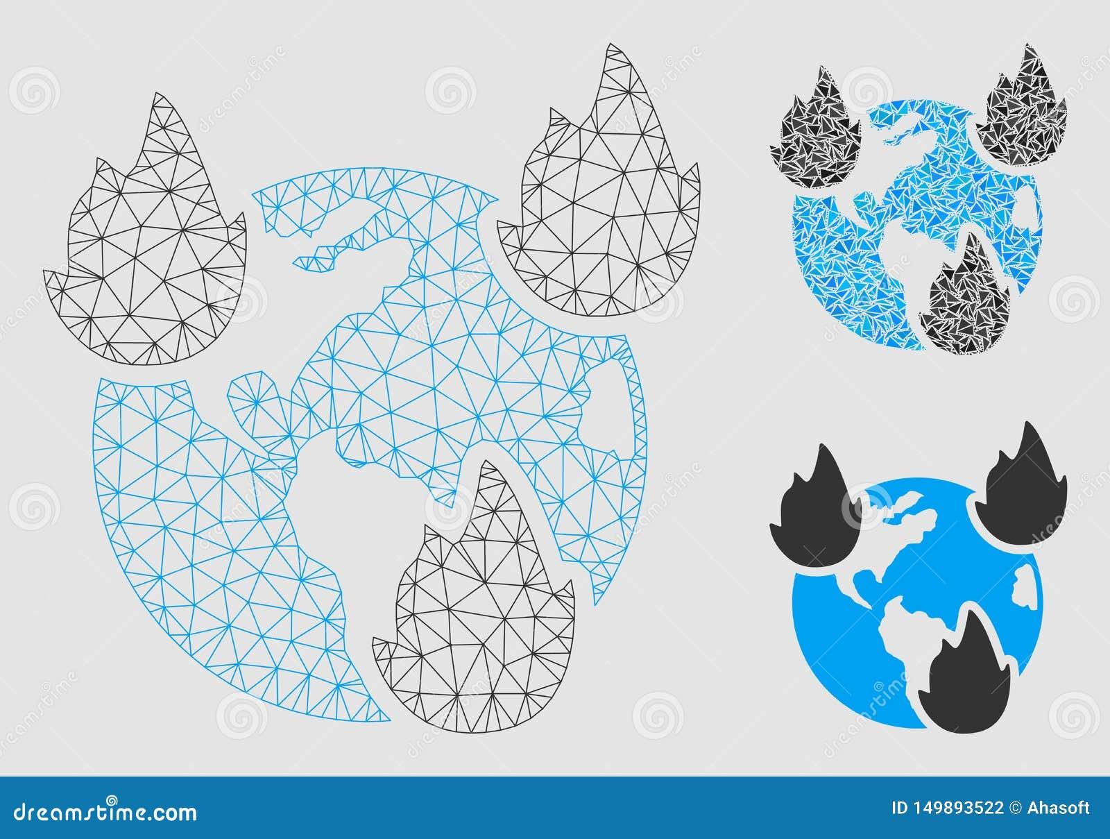 地球灾害导航滤网尸体模型和三角马赛克象