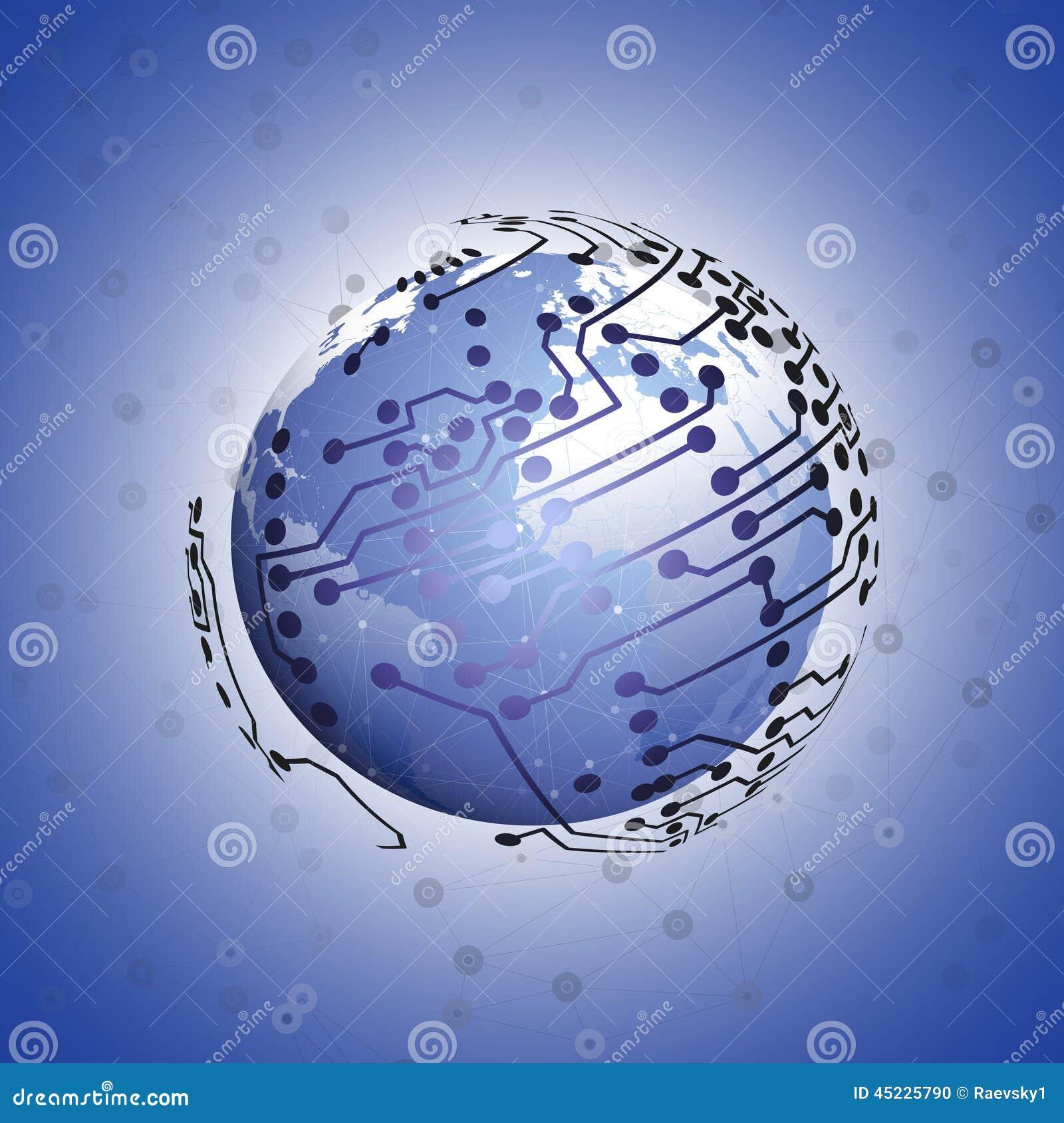 地球网络连接,蓝色设计背景传染媒介例证.图片