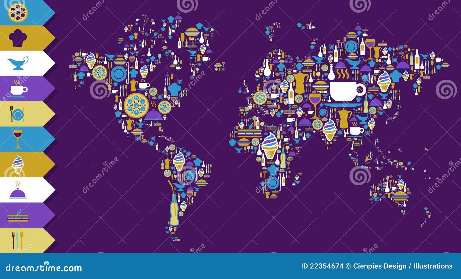 地球美食的图标映射集合世界