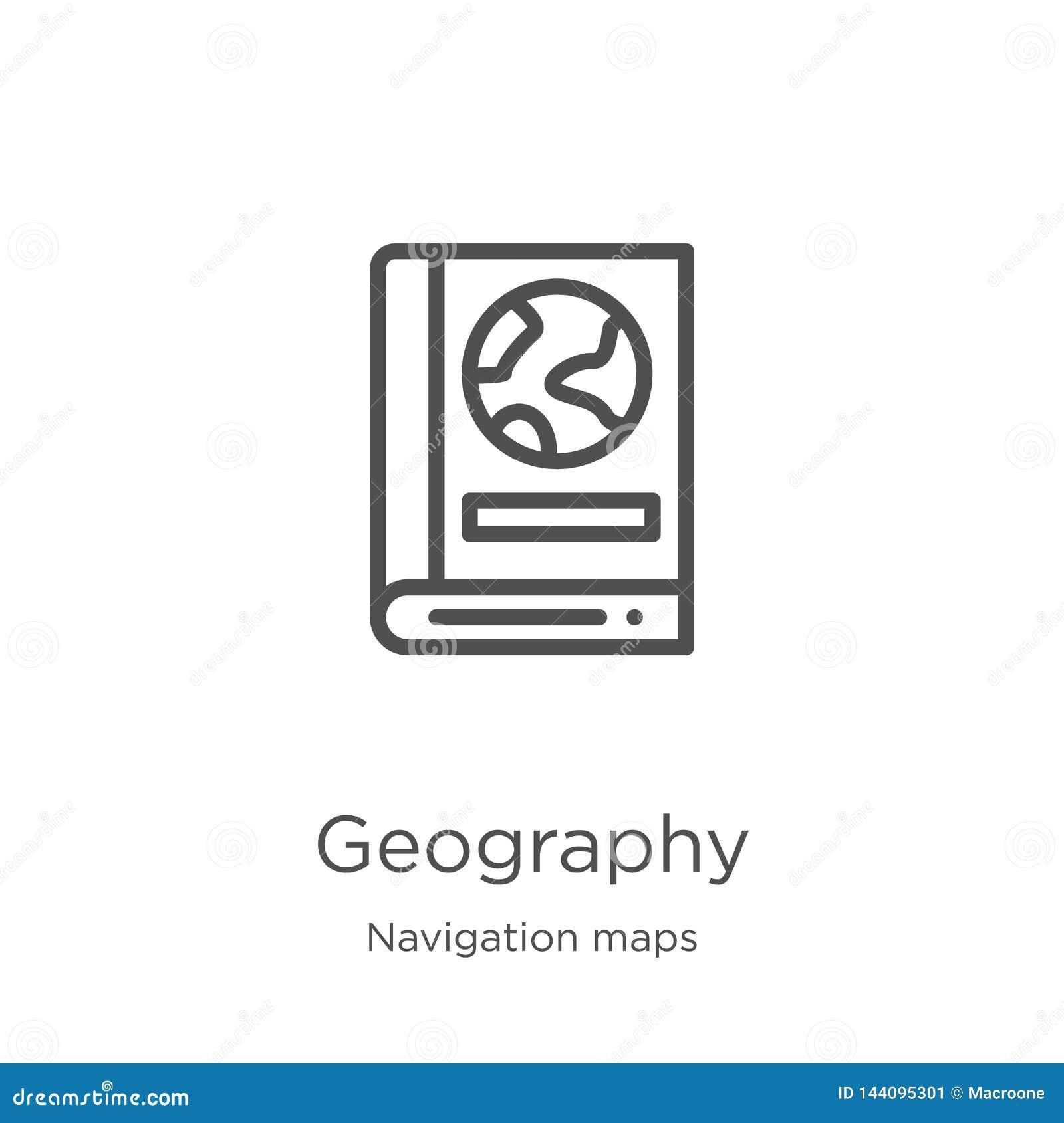 地理从航海地图收集的象传染媒介 稀薄的线地理概述象传染媒介例证 概述,稀薄的线