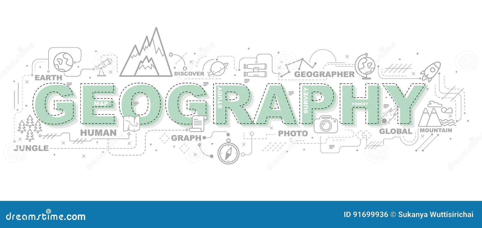 地理的创造性的例证与线象的