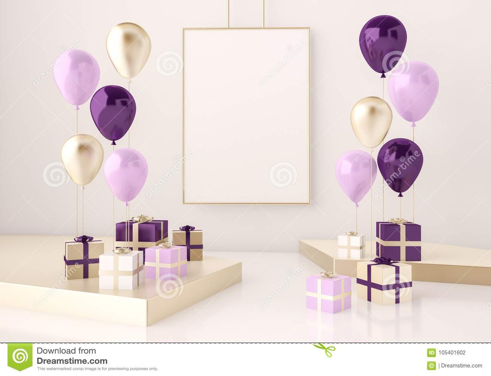 场面的内部嘲笑与紫色和金礼物盒和气球