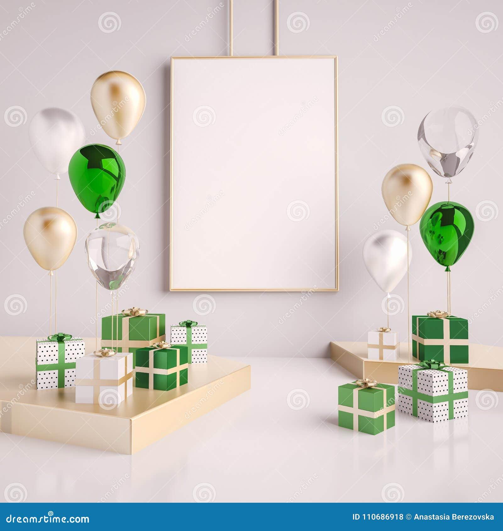 场面的内部嘲笑与绿色和金礼物盒和气球 现实光滑的3d为生日聚会或电视节目预告海报反对