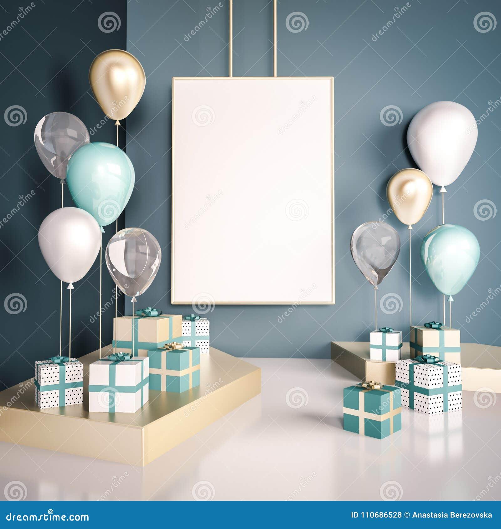 场面的内部嘲笑与蓝色和金礼物盒和气球 现实光滑的3d为生日聚会或电视节目预告海报反对