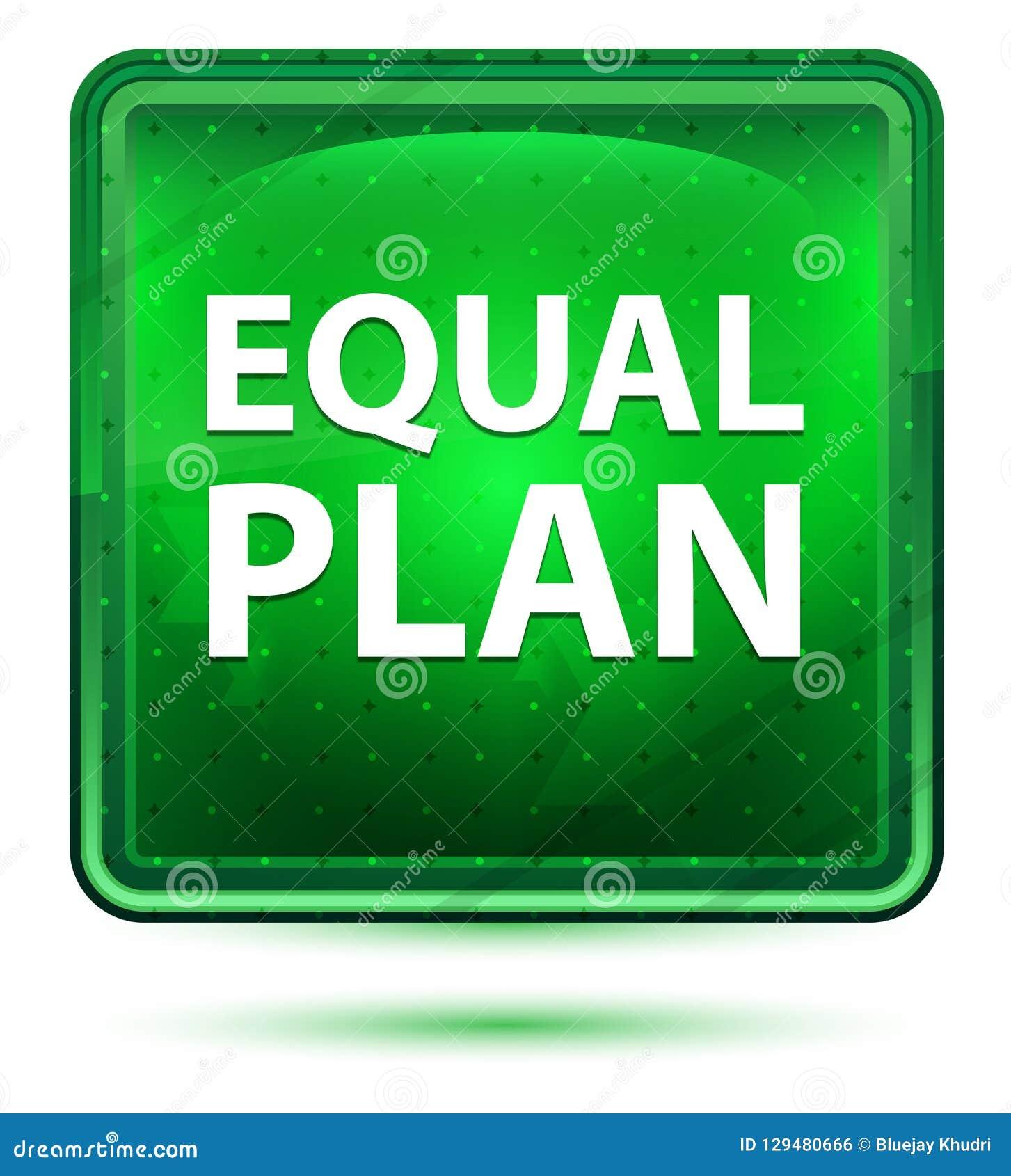 均等计划霓虹浅绿色的方形的按钮