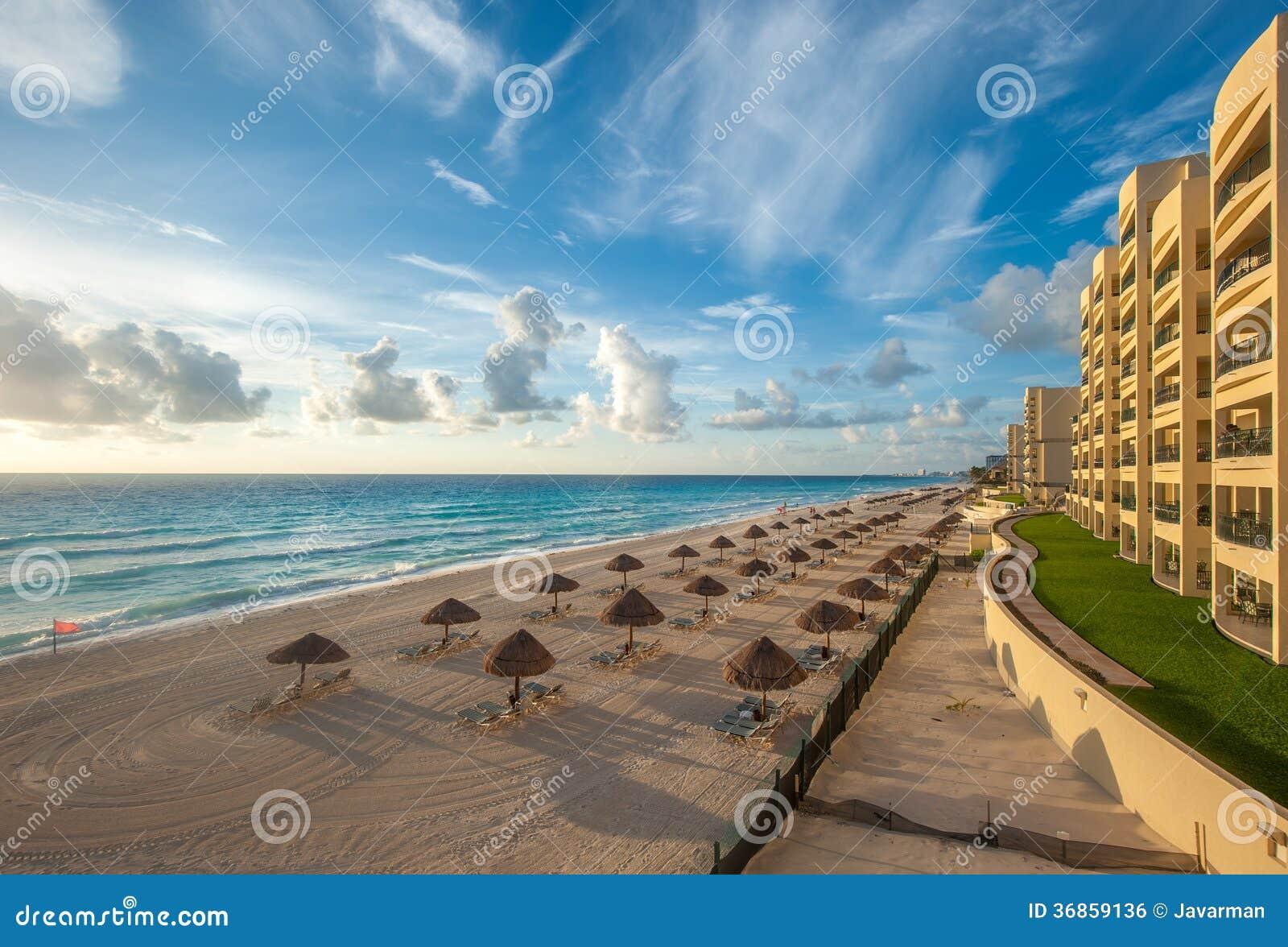 坎昆海滩全景,墨西哥