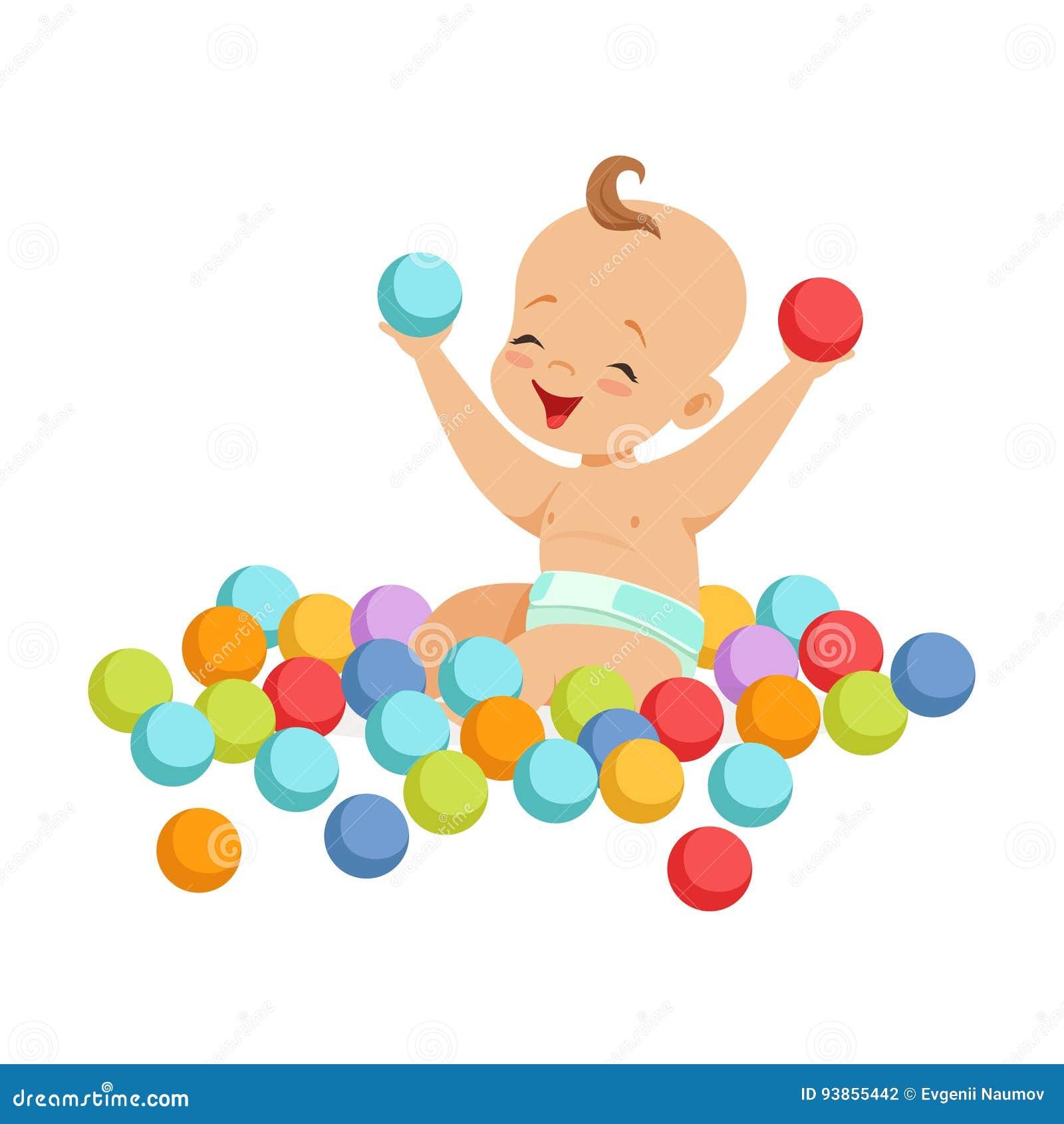 坐和使用与多彩多姿的小球,五颜六色的漫画人物传染媒介例证的逗人喜爱的愉快的婴孩