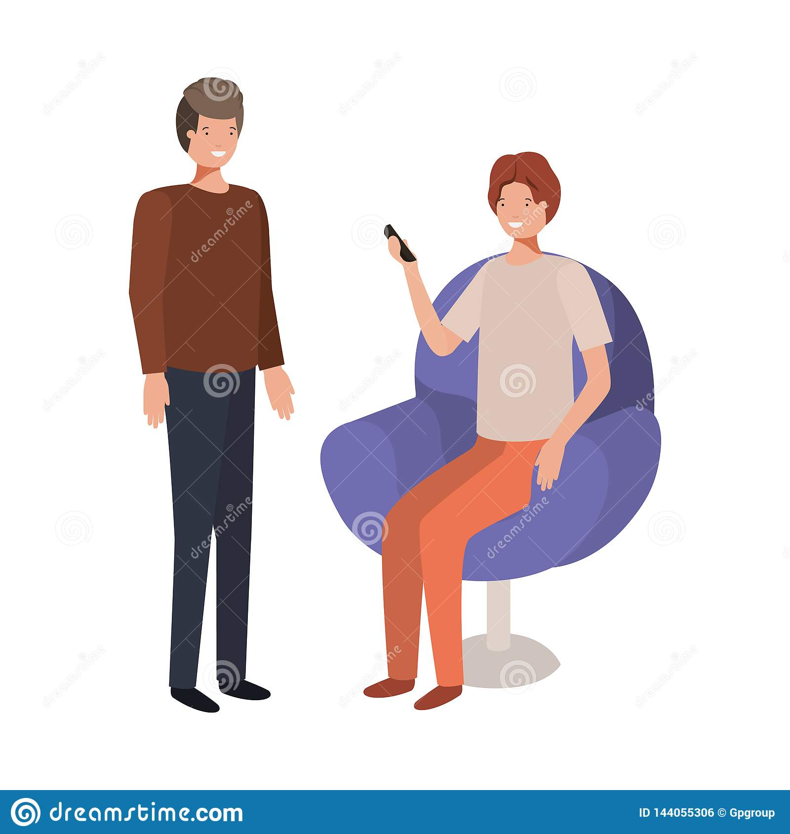 坐在与智能手机的椅子的年轻人