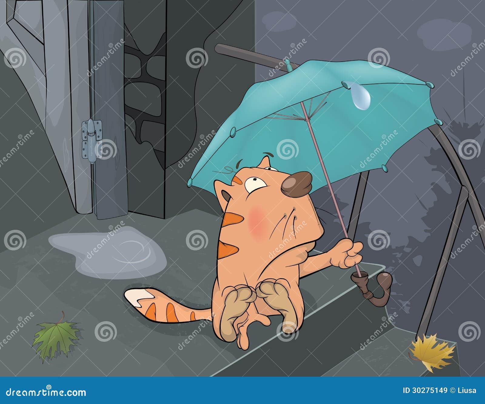 猫和秋天雨。 动画片