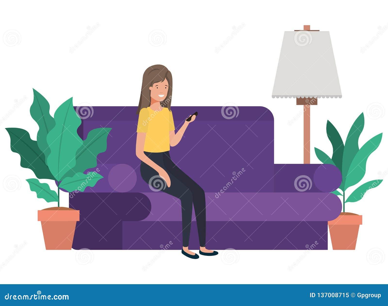 坐在有智能手机具体化字符的长沙发的妇女