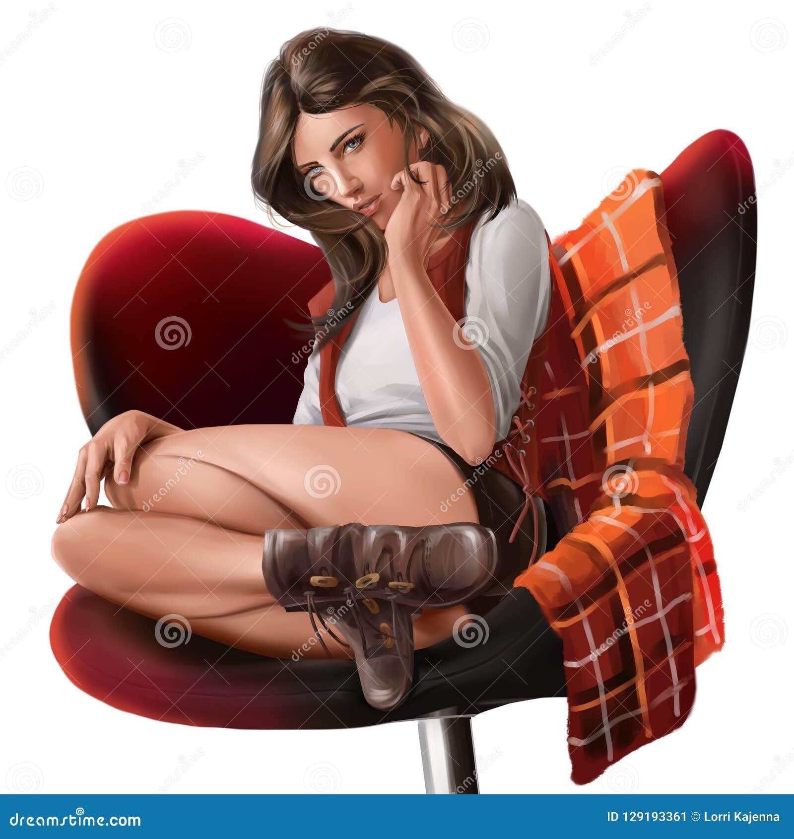 坐在椅子的女孩 多孔黏土更正高绘画photoshop非常质量扫描水彩