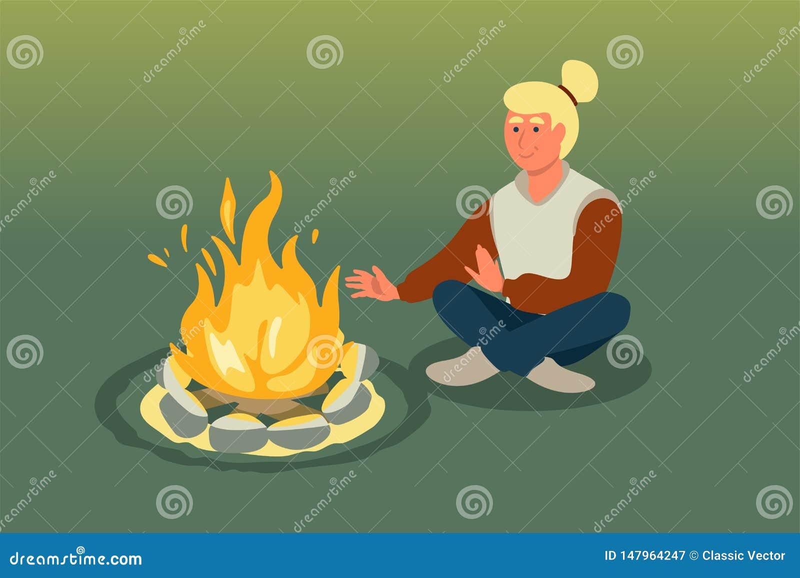 坐在篝火传染媒介例证附近的妇女