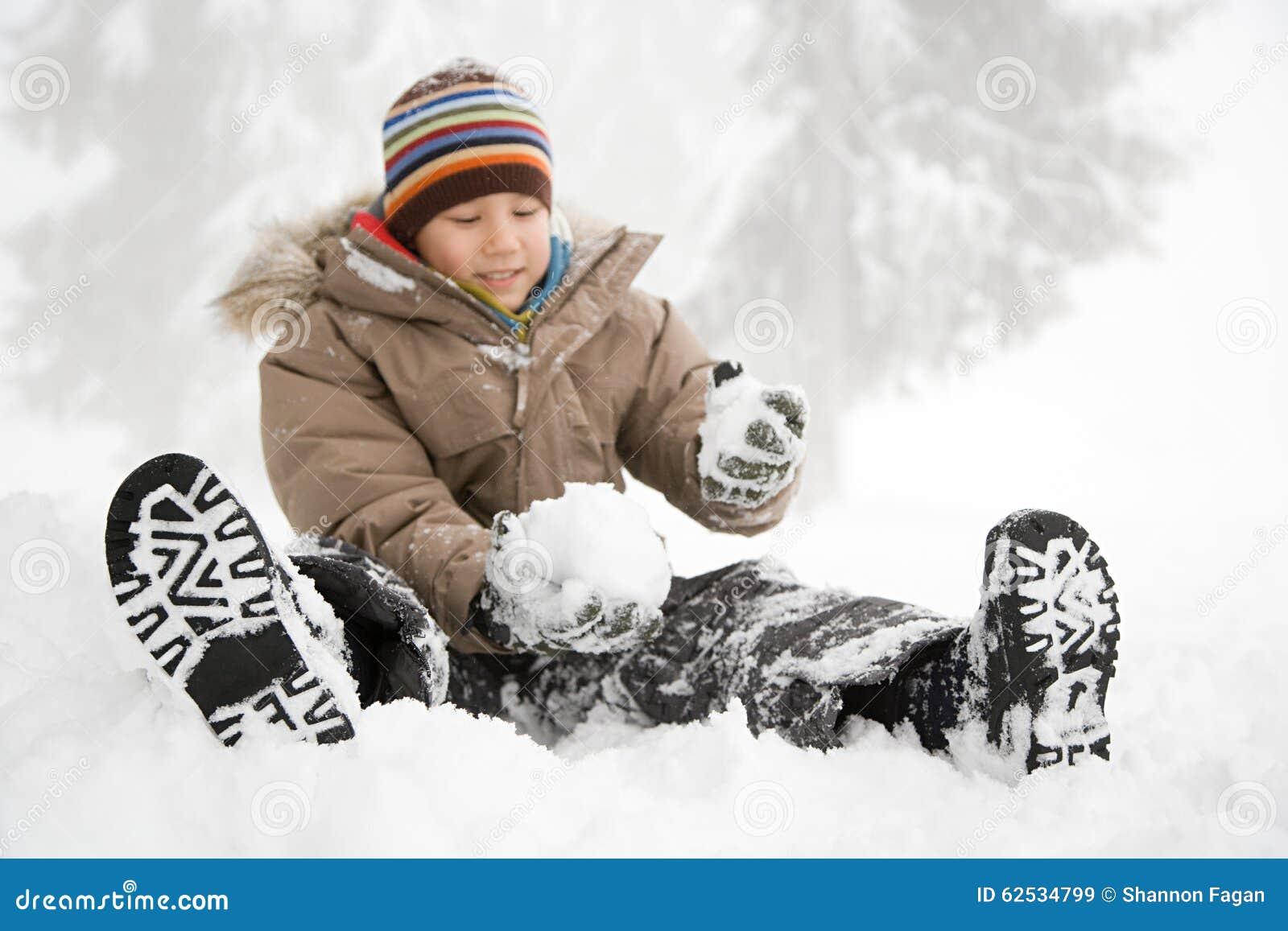 坐在雪的男孩