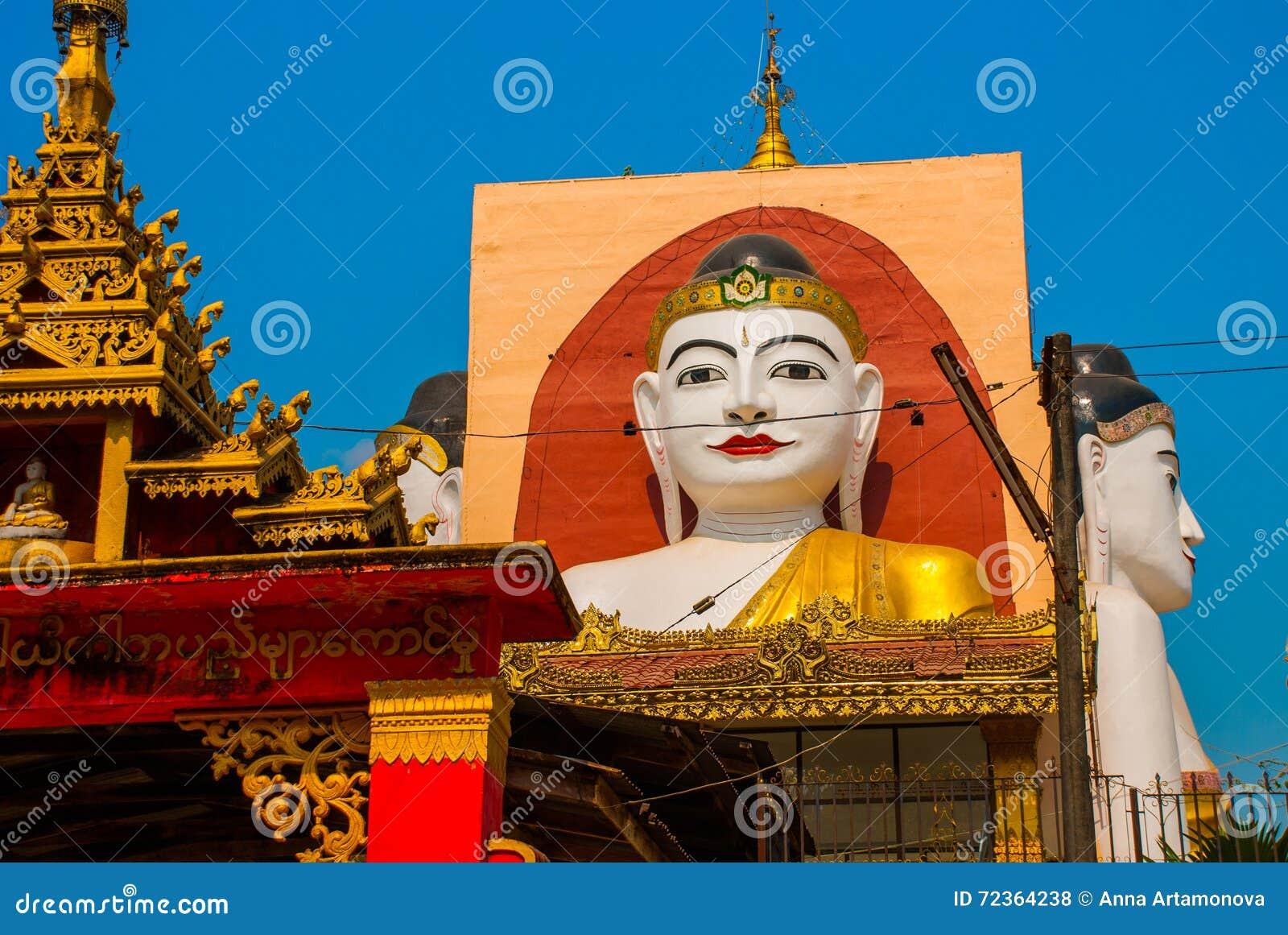 坐Buddhas四个雕象  塔Kyaikpun菩萨 Bago,缅甸 缅甸