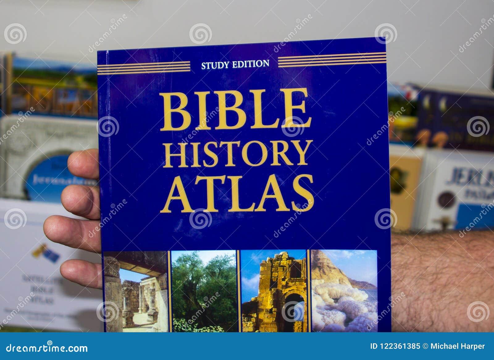 坚硬后面圣经地图集盖子