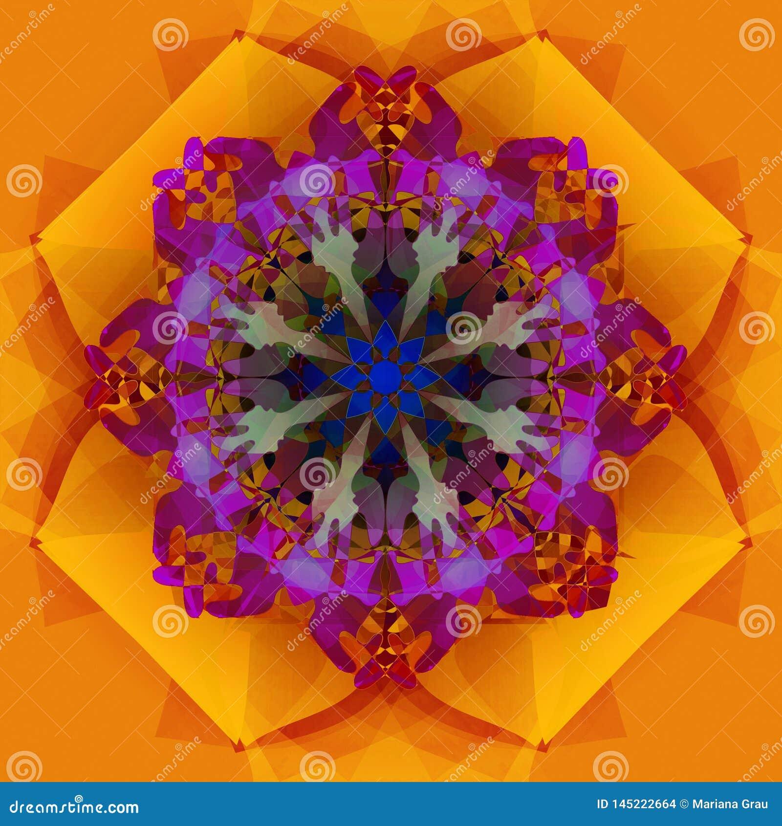坛场几何金花,在抽象形状的PURPPLE中心 DECORATIVES元素,纹理