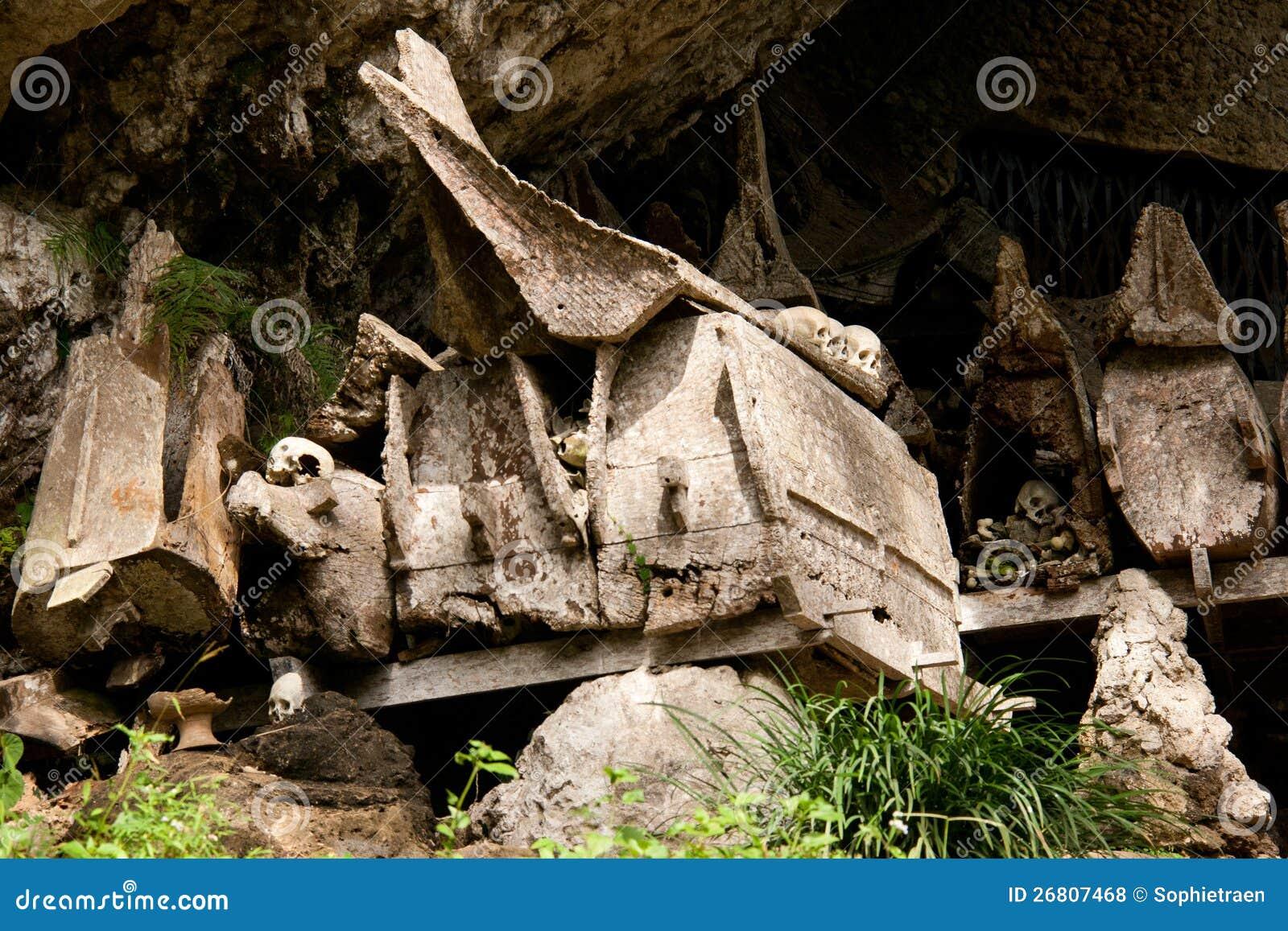 坟墓在Tana的Toraja,印度尼西亚一个村庄