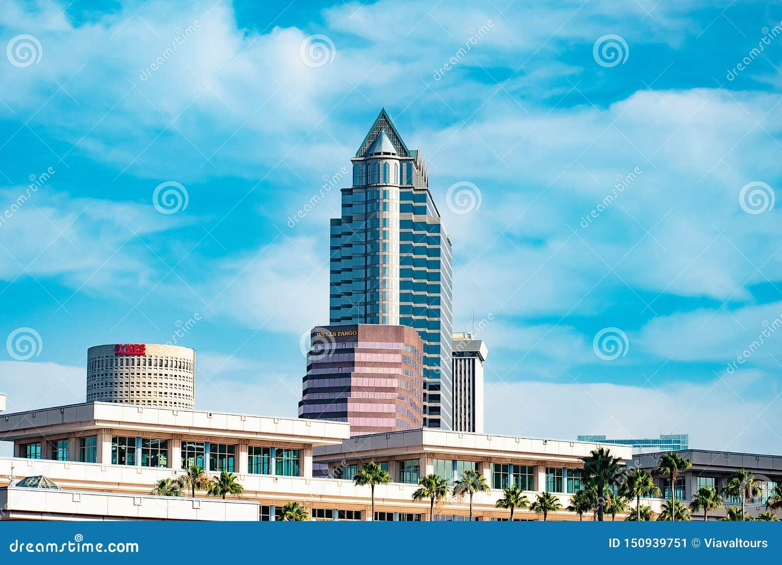 坦帕会议中心和街市大厦顶视图