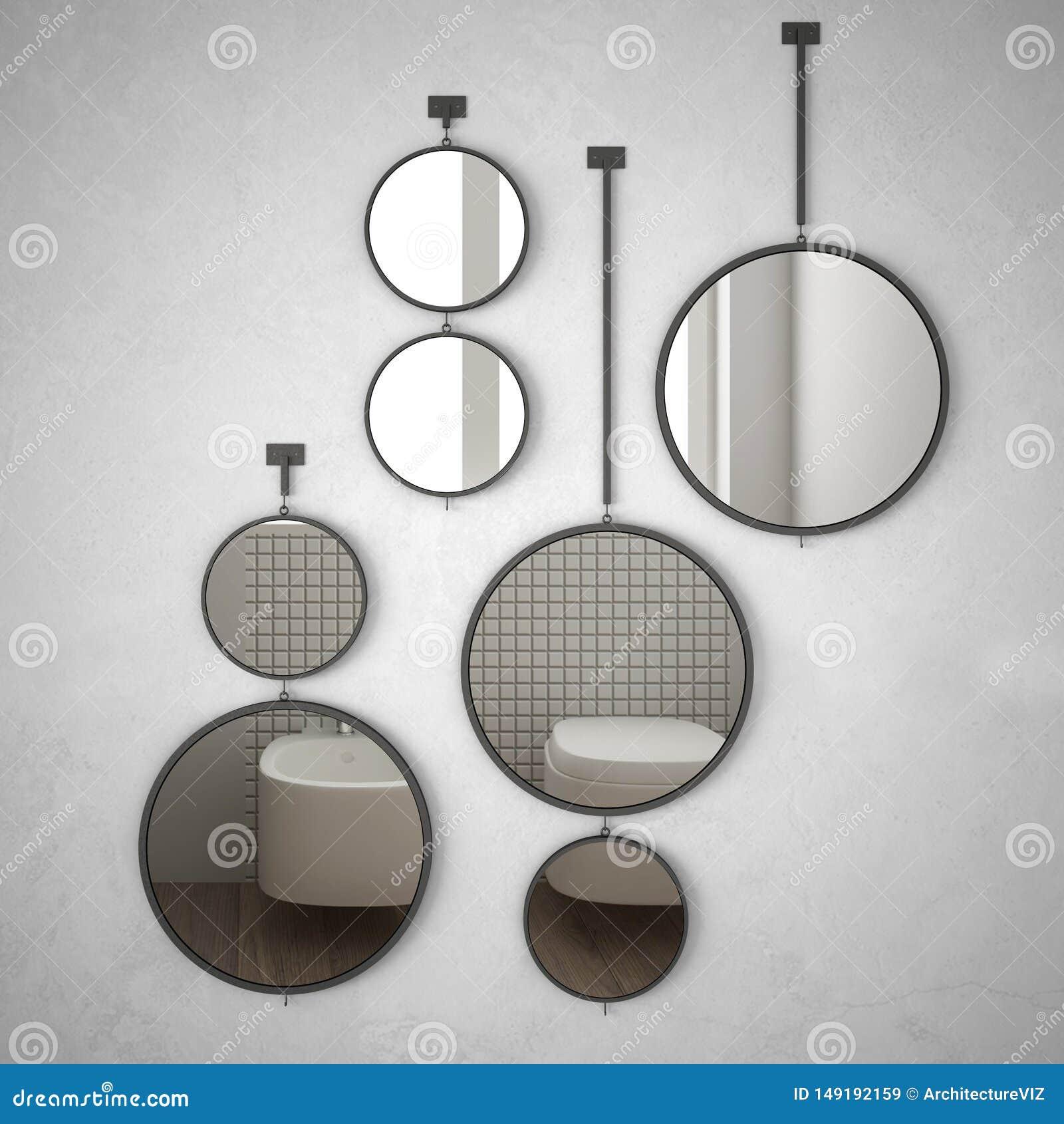 垂悬在墙壁上的圆的镜子反射室内设计场面,最低纲领派白色卫生间,现代建筑学概念想法