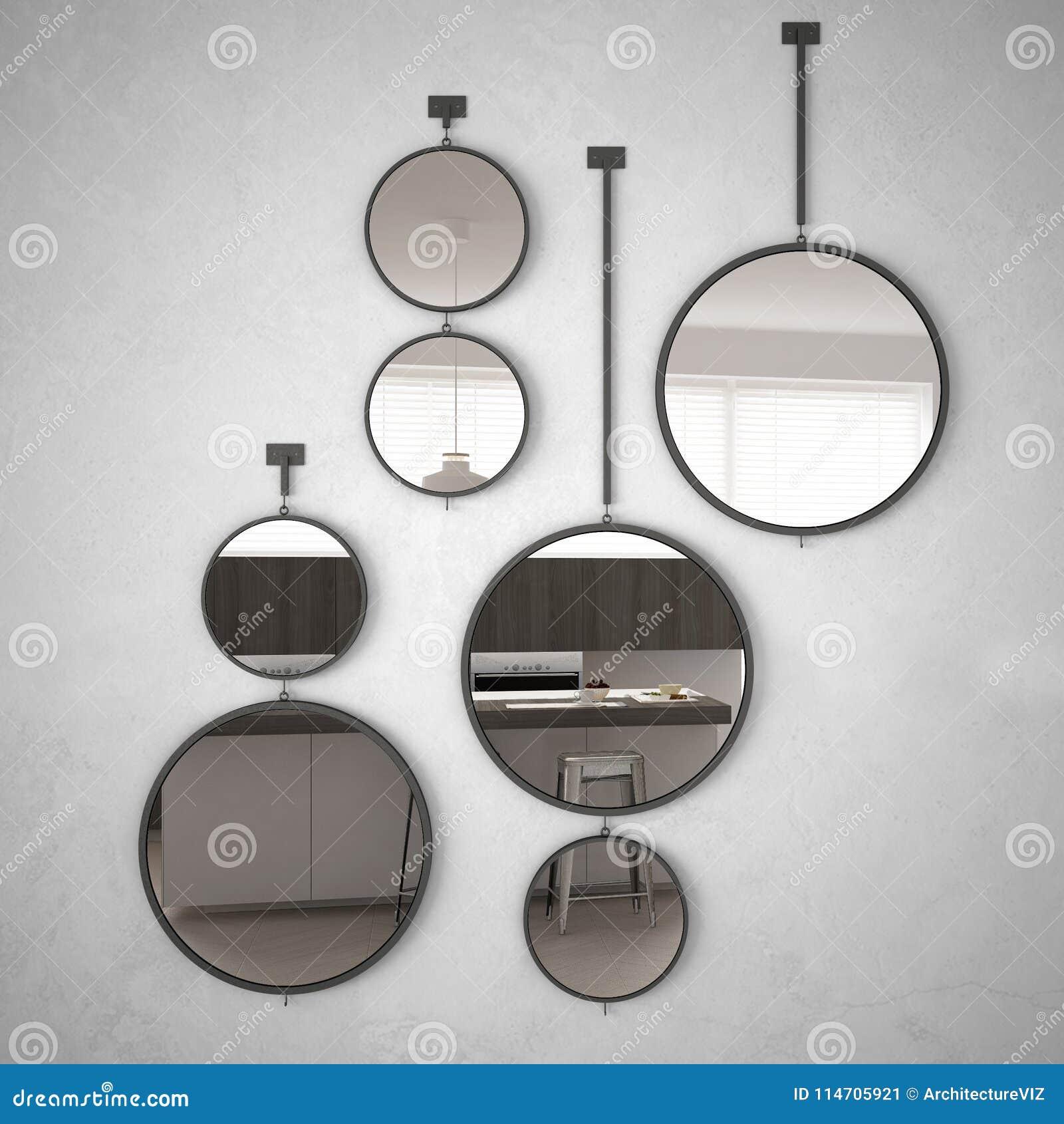 垂悬在墙壁上的圆的镜子反射室内设计场面,最低纲领派白色厨房,现代建筑学