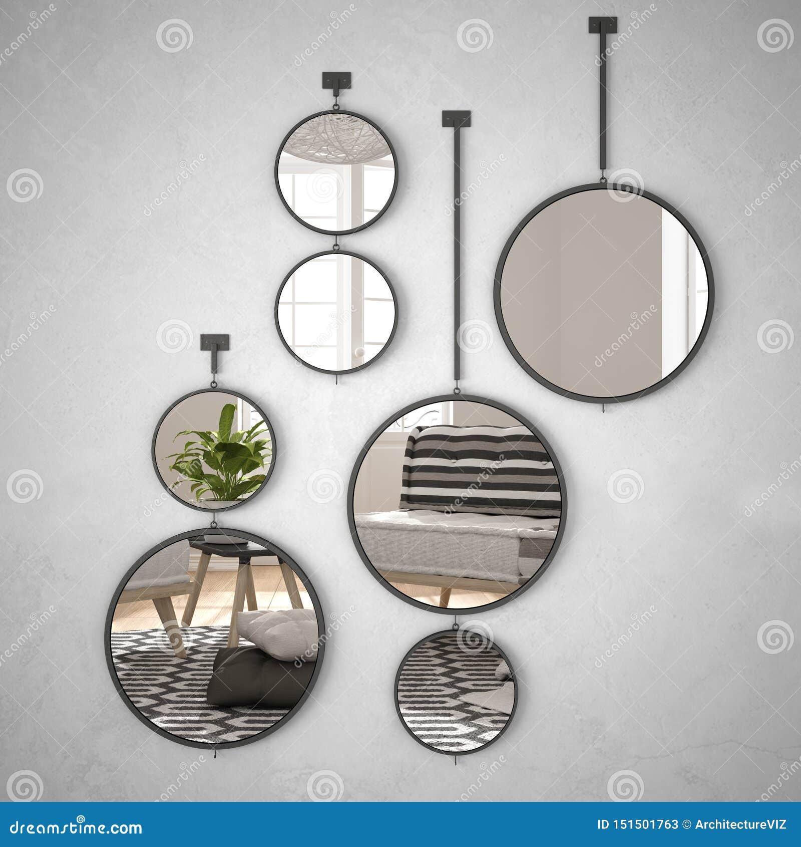 垂悬在墙壁上的圆的镜子反射室内设计场面,最低纲领派白色生活,现代建筑学概念想法